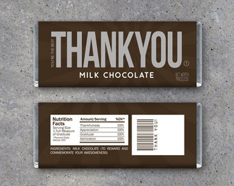 THANK YOU Candy Bar Wrappers – Printable Instant Download – Thank You Hershey's Candy Bar Wrappers – Great for Teachers, Coaches & more!