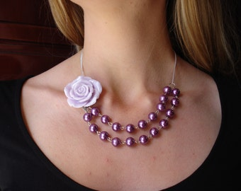 AFFORDABLE LUXURY.Amazing Light Lavender Rose Necklace.Hand Wire Wrapped Purple Pearl Jewelry.Bridesmaid Jewelry.Perfect  for any Occasion.