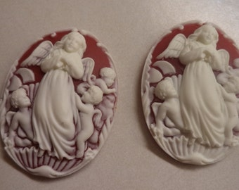 40mm x 30mm resin cameos cabochon of angels white on ruby red 2 pc lot l