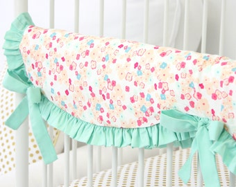 15% OFF SALE - Mini Floral Crib Rail Cover for Bumperless Bedding | Teething Guard in Mint and Peach