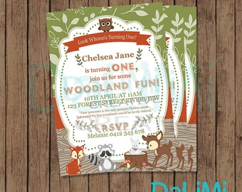 5 x 7 inch Woodlands Invitation - Forest Friends Invitation - Animal Party Invitation - Forest Animals - Printable Party Invitation