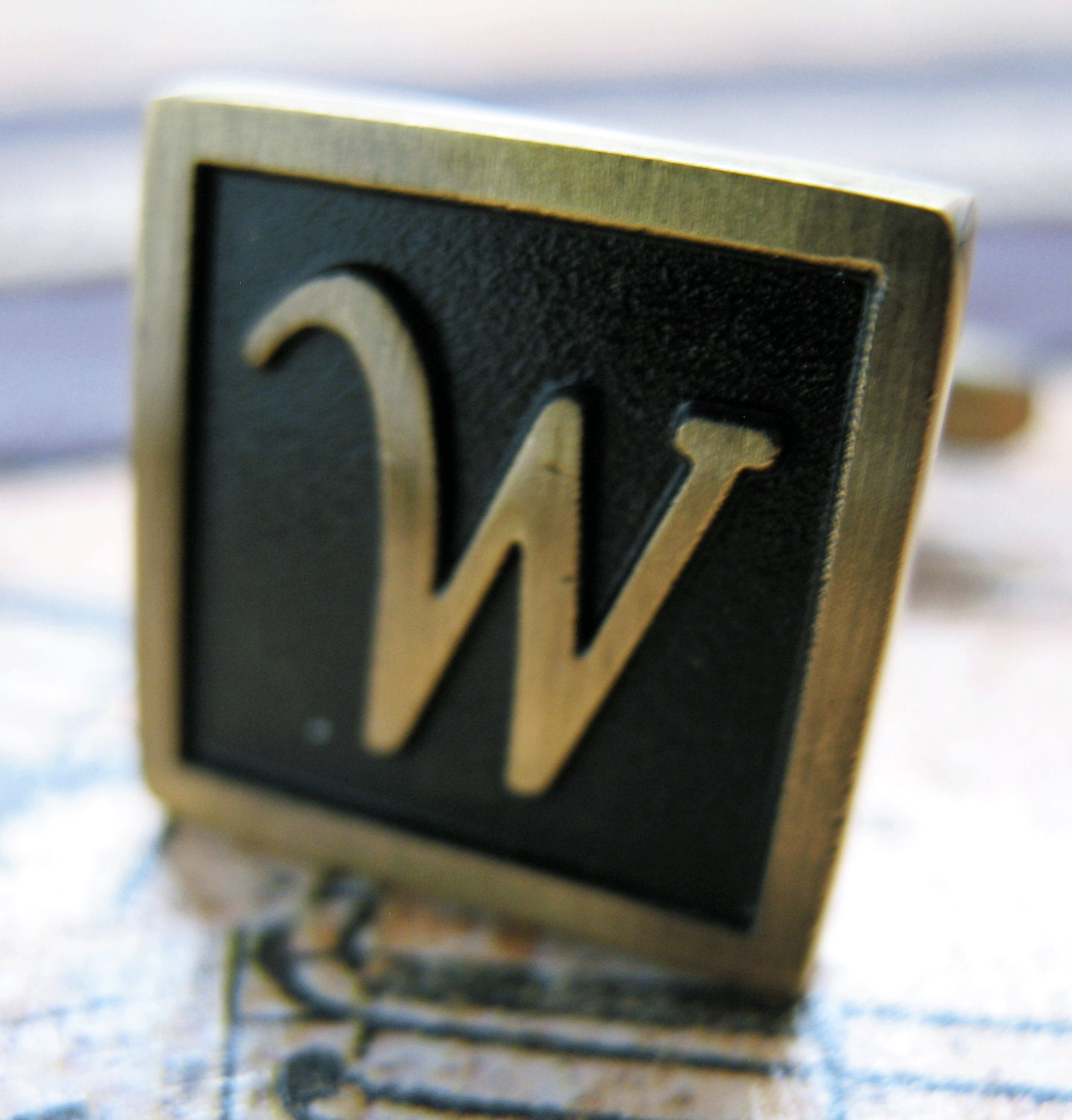w initial cufflinks antique brass square 3 d letter vintage english lettering cuff links groom