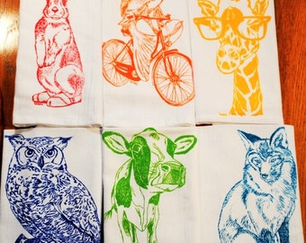 Cloth Dinner Napkins - Screen Printed Recycled Cotton Cloth Napkins Set of Six - Washable and Reusable Eco Friendly