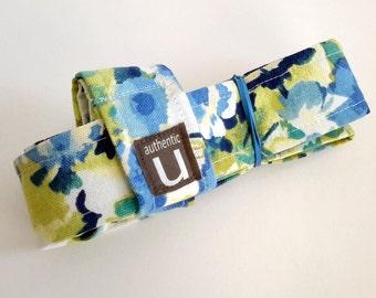 Yoga Mat SLING & STRAP - aqua blue floral