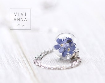 Forgetmenots  in mini glass ball & Silver chain with real dried Forget Me Nots | k311