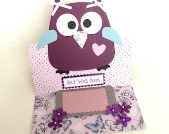 Handmade 3D Pop up Stand Get well Soon Owl Card