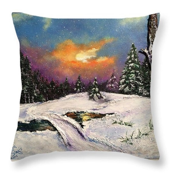 Purple And White Decorative Pillows : Blue White Purple Throw Pillow Christmas throw pillow pillow