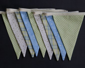 Greens, Blues, White Stars and Plaid Bunting