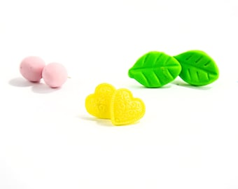Polymer clay studs Green leaf post earrings Color dot ear posts Yellow heart stud earrings Light weight jewelry