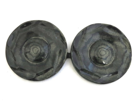 1920's Art Deco green and black Bakelite double belt buckle, 2 marbelised circles with metallic back clips