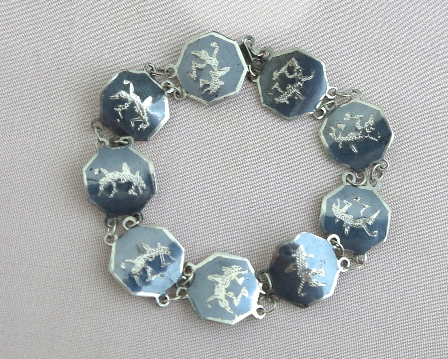 vintage siam sterling nielloware link bracelet with by