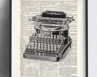 Vintage Typewriter Upcycled Dictionary Art Print Repurposed Book Print Recycled Antique Dictionary Page - Buy 2 Get 1 FREE