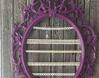 Custom Jewelry Organizer Frame Baroque Wall Ornate Picture Frame Purple with Lace Girls Nursery Decor