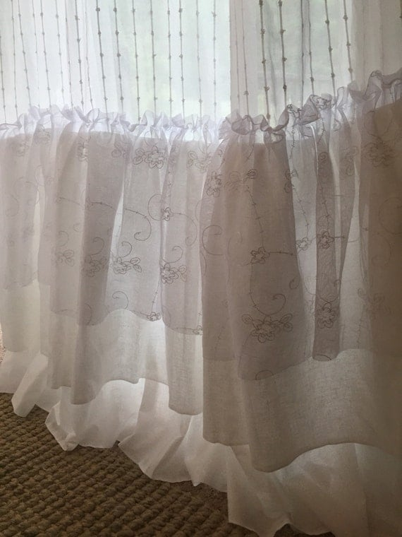 Soft French White Ruffle Curtains Shabby Chic Girls Bedroom