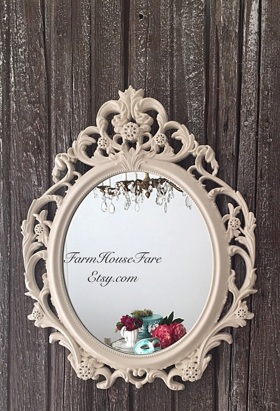 Baroque nursery mirror ivory ornate mirror large by for Plastic baroque mirror