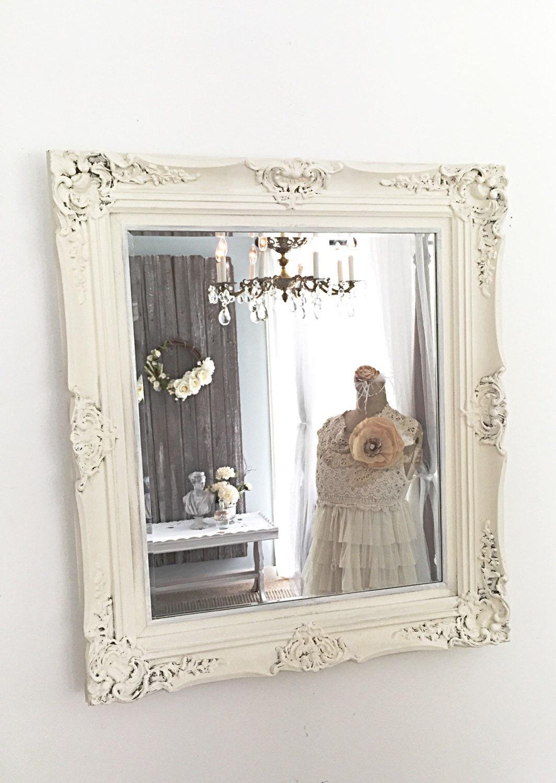Baroque shabby cottage chic mirror white bathroom wall hanging for White baroque style mirror
