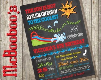 Chalkboard Waterslide Birthday Pool Party Invitation