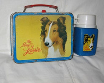 vintage 1978 thermos king-seeley the magic of lassie metal lunchbox and thermos