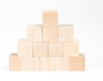 Unfinished Wooden Blocks for DIY or Baby Shower Gift   Box 29   Solid Cube Square 1 inch Natural Unpainted Blocks Crafting Supply Set of 26