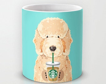 Personalized mug cup designed PinkMugNY - I love Starbucks - Goldendoodle