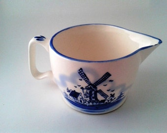 Cream and Blue Windmill Pitcher with Handle, Dutch Windmill, Large Handle Creamer