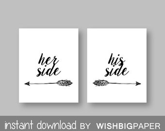 Her Side His Side wall art-Instant Download-Set of three (2).Her Side His Side Bedroom Printable. Quote Bedroom Wall Art Print. Side. Sets
