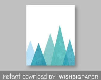 Aqua Mountain Wall Art Print -Instant Download- Aqua Printable Art. Blue Mountain Print, Modern Decor. Monochrome Triangle Mountain