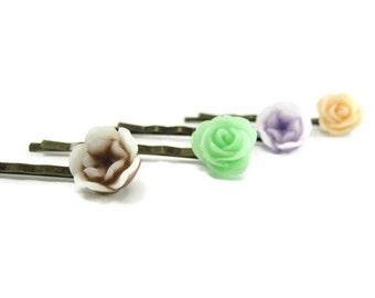 Spring Flowers  Hair Pins Resin Rose Hair Pin Set of 4    Bridesmades Gift  Floral Bobby Pins