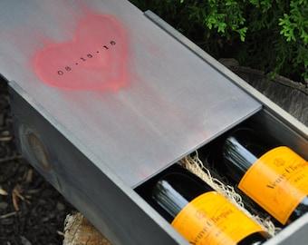 Champagne box wine box wedding card box wedding gift 2 bottles anniversary gift box custom wine box unique wine box wooden wine box