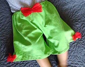 Baby girls wide leg green gaucho pants // Made to order