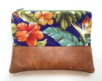 9x7 | Bird of Paradise | Tropical Hibiscus Hawaii Print Faux Leather Clutch, Makeup Bag, Vegan, Leather, Wristlet, Purse, Floral, Hawaiian