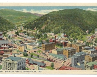 Deadwood, South Dakota Bird's Eye View Linen Era Old Postcard (Unposted)