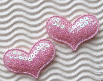 5 light pink sequined padded Heart appliques - bow centers