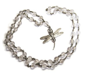 Vintage Dragonfly Rock Crystal Sterling Pools of Light Necklace