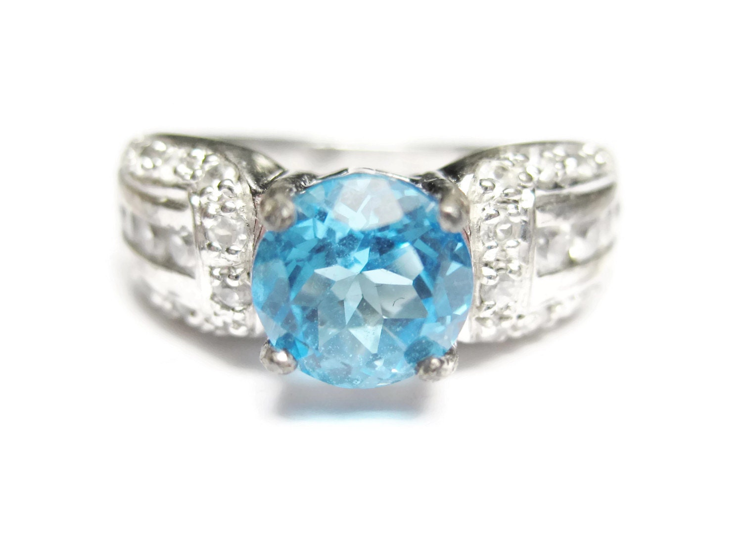 blue white zircon engagement ring sterling size 6