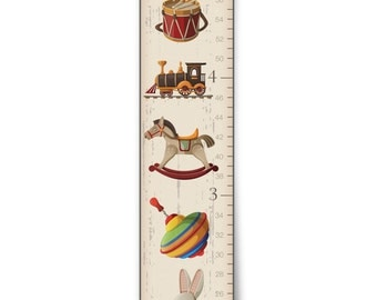 """Personalized """"Vintage Toys"""" Growth Chart"""