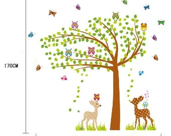 Deer and Tree - Extra Large Nursery Wall Sticker / Wall Decal AW7256 - FREE DELIVERY (Australia only)