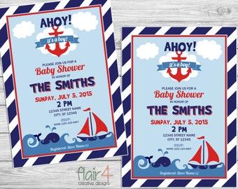 Printable Invitation - Ahoy It's A Boy - Digital File (5x7)