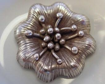 Hill Tribe Thai Large Silver Flower Pendant - #2493B
