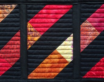 Table runner 'stained glass' in bright Autumn batiks