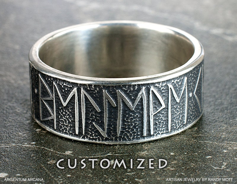 mens custom viking rune ring unique mans wedding - Norse Wedding Rings