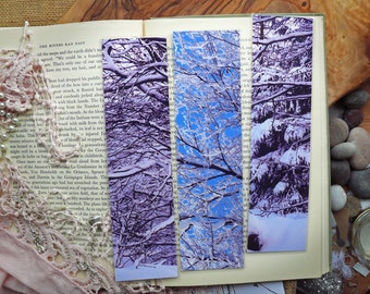 Snowy Winter Trees Forest Branches Handmade Laminated Photographic Art Bookmarks - Set of 3