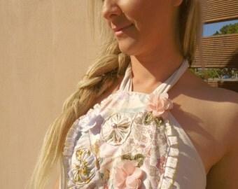 Patchwork penny maxi dress- lace- beach- halterneck