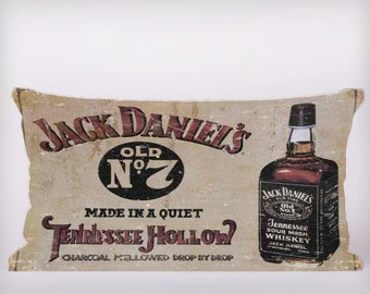 Jack Daniels Old No7 Whiskey - Customizeable Personlized   -Cushion Fabric Panel Or Case or with Filling