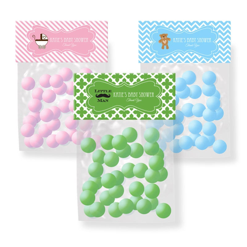 Personalized Baby Shower Candy Bag Toppers Set Of 24