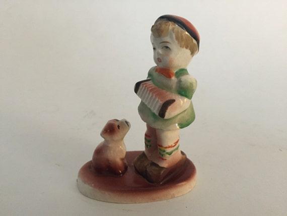 Occupied Japan Ceramic Figurine Boy Dog By Betsyvintagehome