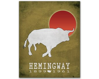 Ernest Hemingway The Sun Also Rises - Bull Red Sun Matador Spain Culture Bookish Art Literary Decor Classroom Book Art American Author