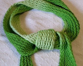 Skinny Scarf in Apple Green Shades! Hand Dyed, Guaranteed Unique!