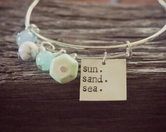 Sun Sand Sea bangle bracelet,Beach vacation bracelet, Vacation jewelry, Retirement gift, Summer gift, Adjustable bangle bracelet,