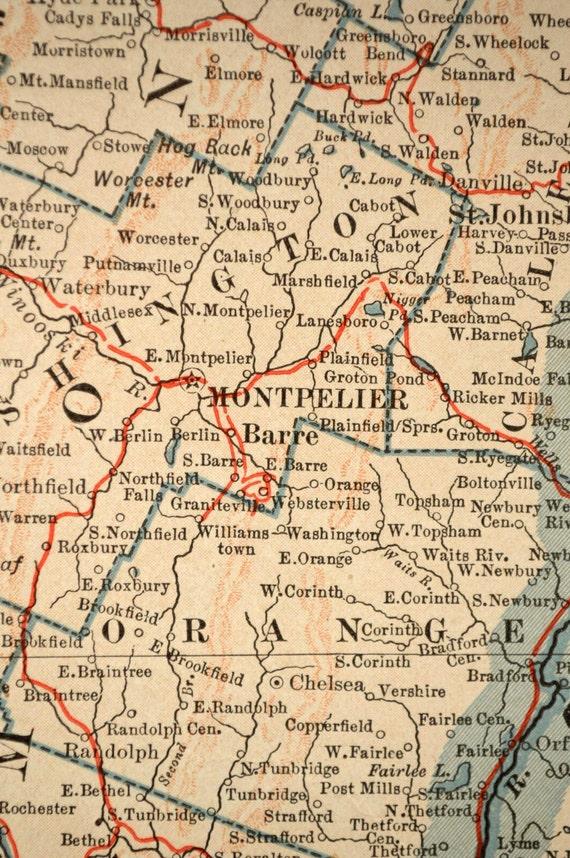 New Hampshire Map Vermont Map Railroad By MapsBooksEphemera